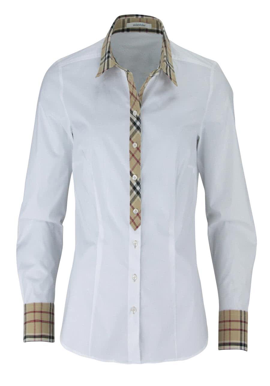SEIDENSTICKER Modern Bluse Langarm mit Besatz Popeline Stretch weiß ae9ae03d19