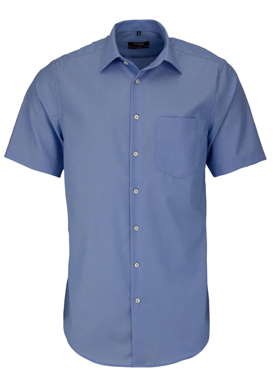 ddee8682c289 SEIDENSTICKER Modern Hemd Halbarm Basic Kent Kragen Fil à Fil blau
