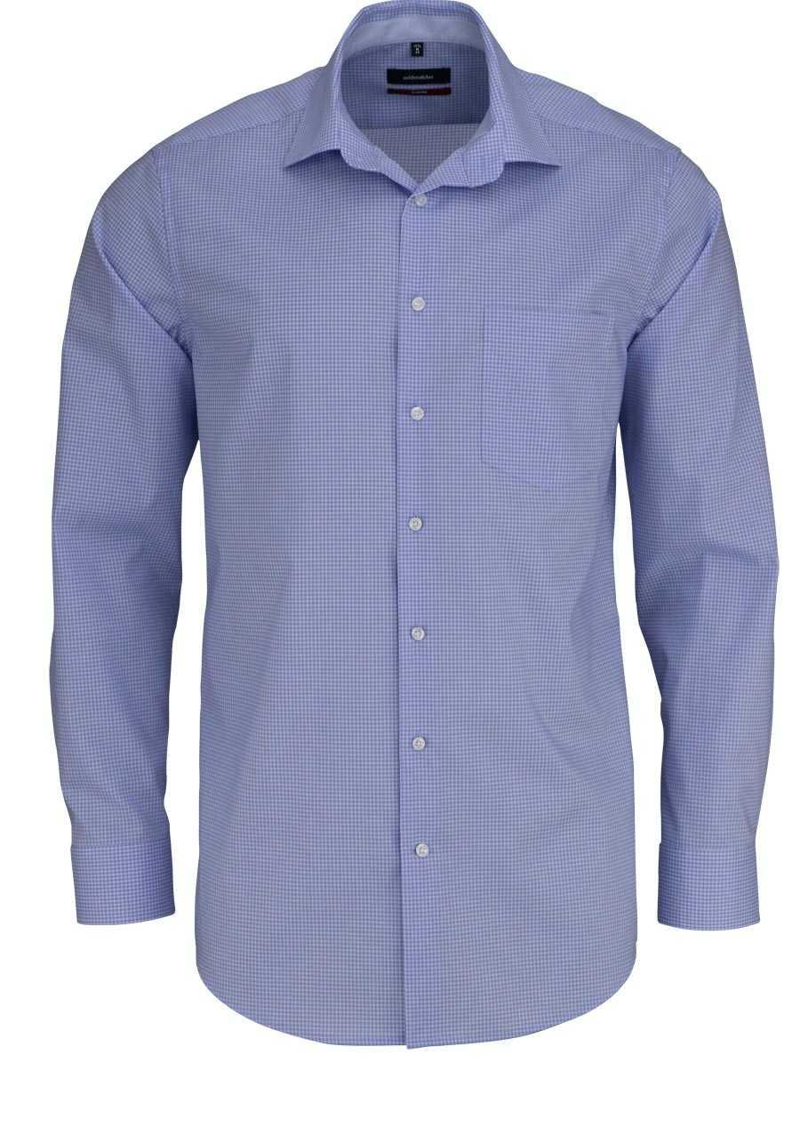 ba1a1d94caab SEIDENSTICKER Modern Hemd Langarm New Kent Kragen Karo blau
