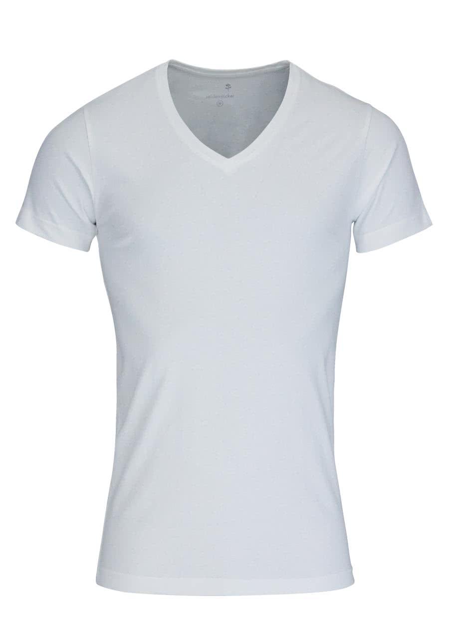quality design fc78e ac928 SEIDENSTICKER T-Shirt Halbarm V-Ausschnitt weiß