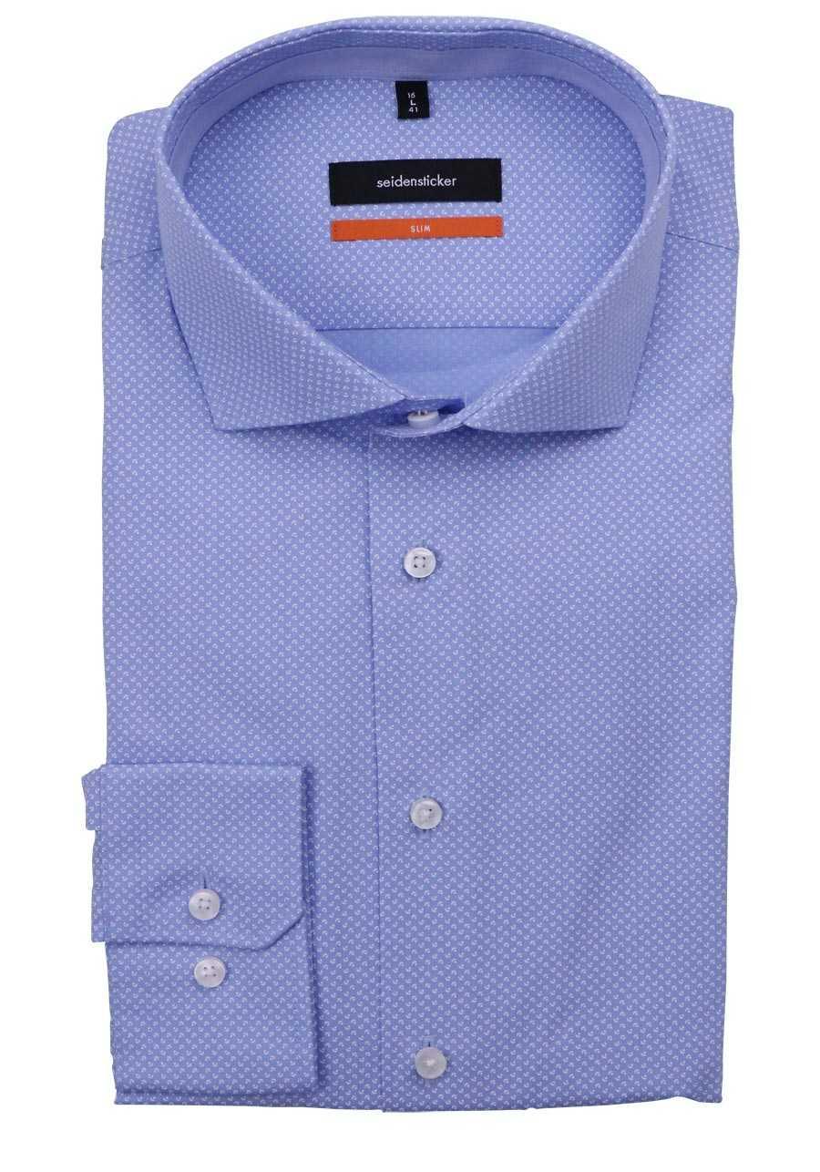 Seidensticker Slim Hemd Halbarm New Kent Kragen Muster Nachtblau Business Herren
