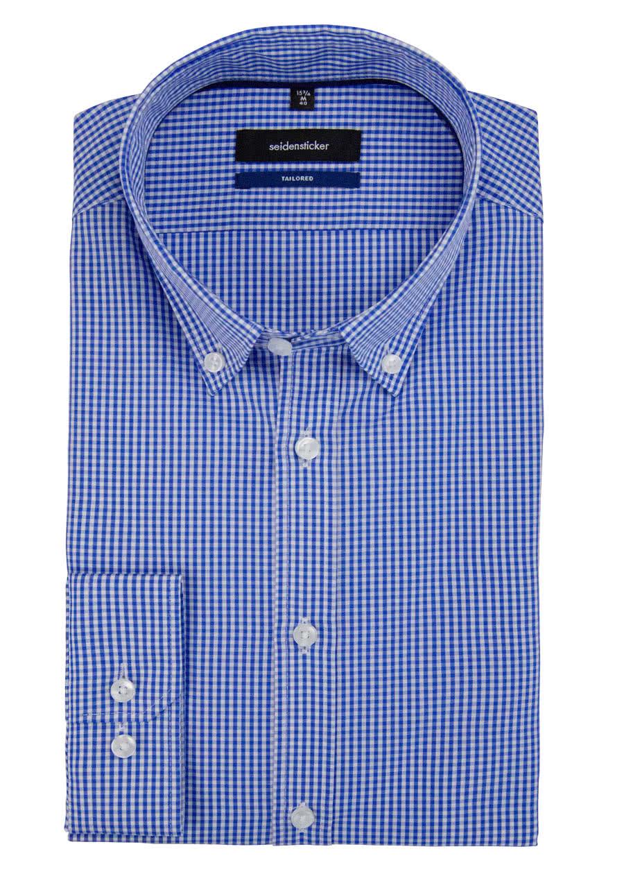 426fee657c53 SEIDENSTICKER Tailored Hemd Langarm Button Down Kragen Karo mittelblau
