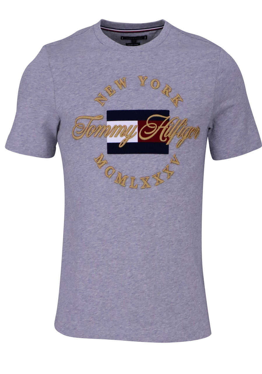 e08bcf4e5d618 TOMMY HILFIGER Halbarm T-Shirt Rundhals Samt Logo hellgrau