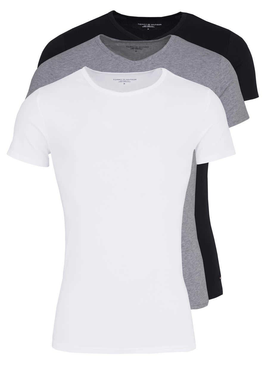 bd1158df29dbfd TOMMY HILFIGER Halbarm T-Shirt Stretch 3er Pack weiß/grau/schwarz