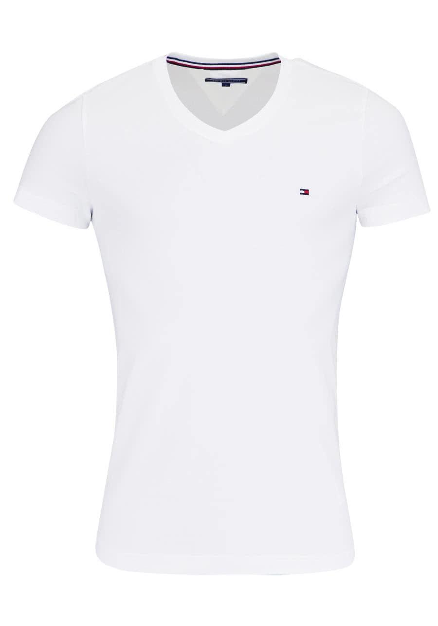 quality design dbe76 f67a0 TOMMY HILFIGER Halbarm T-Shirt V-Ausschnitt Stretch weiß
