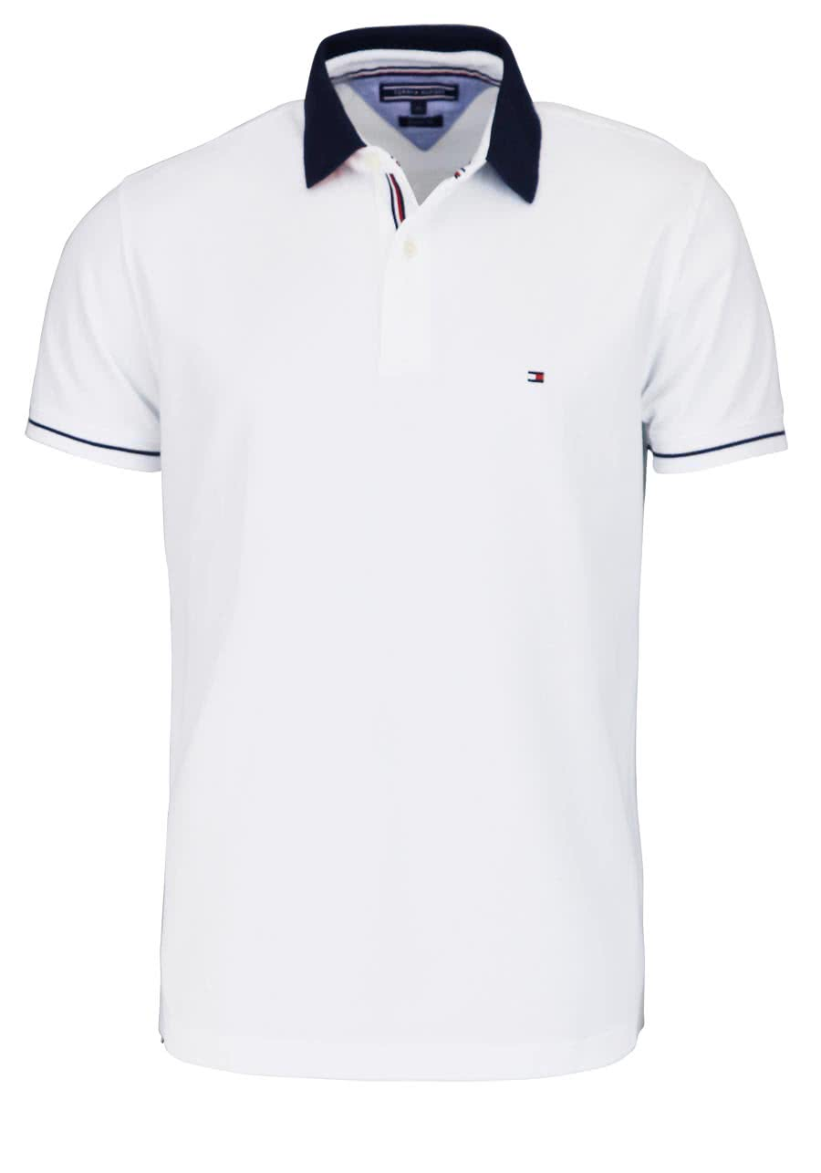 TOMMY HILFIGER Kurzarm Poloshirt geknöpfter Kragen weiß