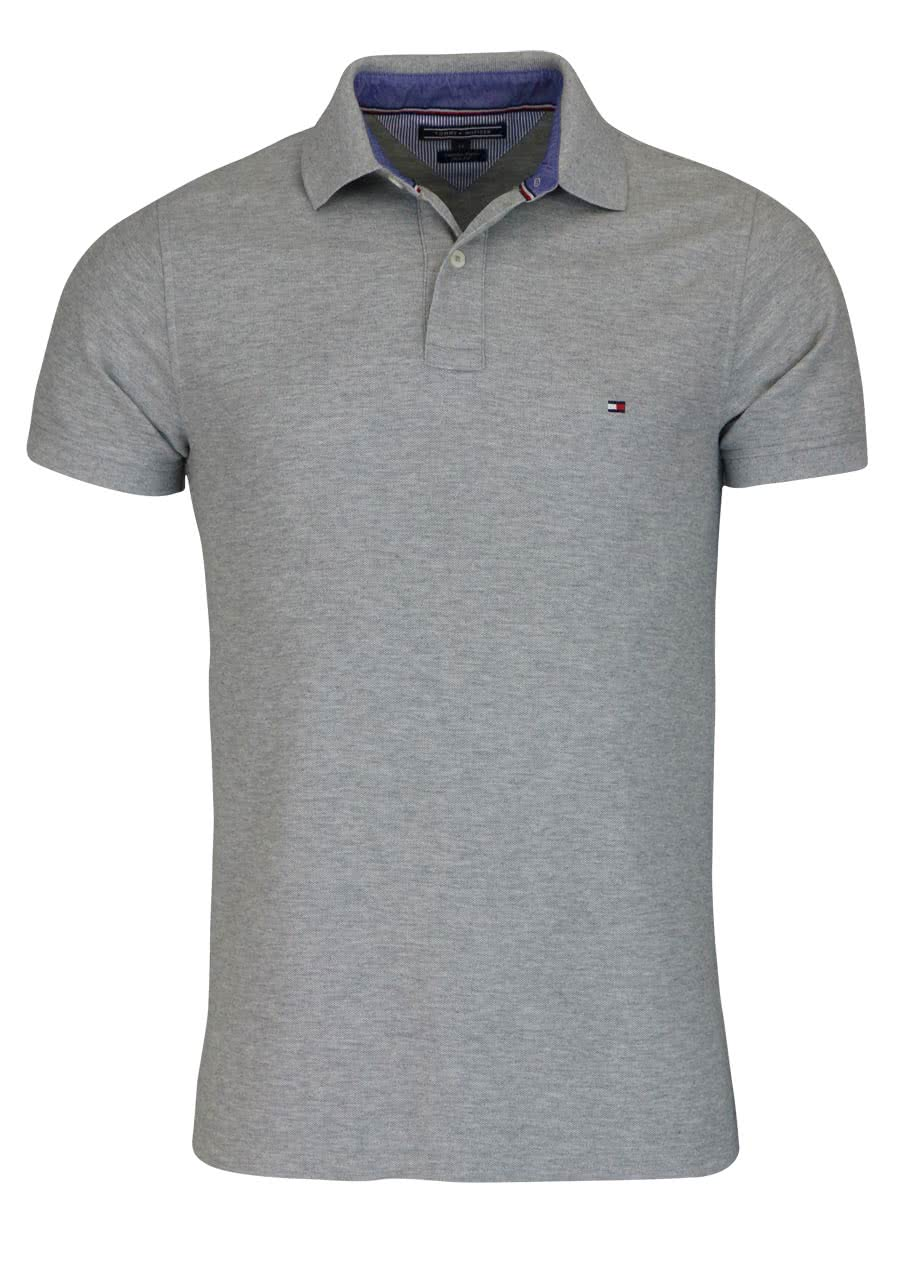 low priced a6dfe b7575 TOMMY HILFIGER Performance Poloshirt Halbarm Slim Fit mittelgrau