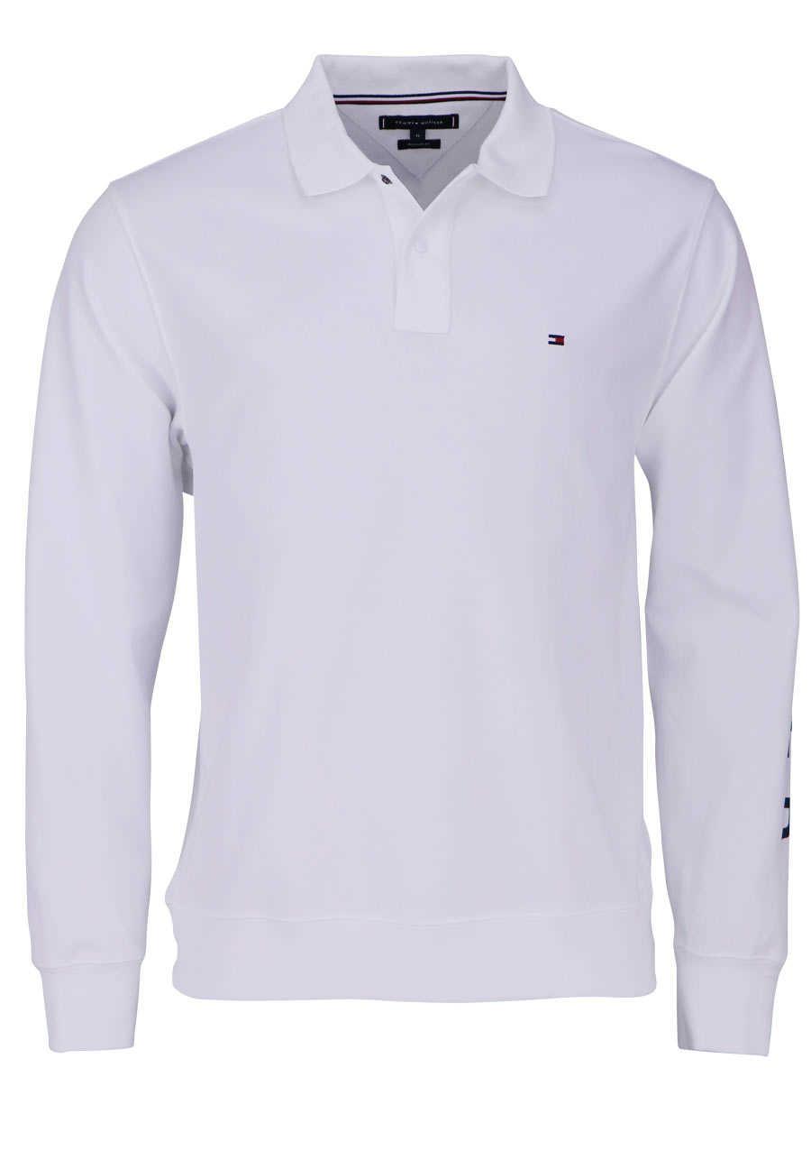 32309a37d44009 TOMMY HILFIGER Poloshirt Langarm mit geknöpften Kragen weiß