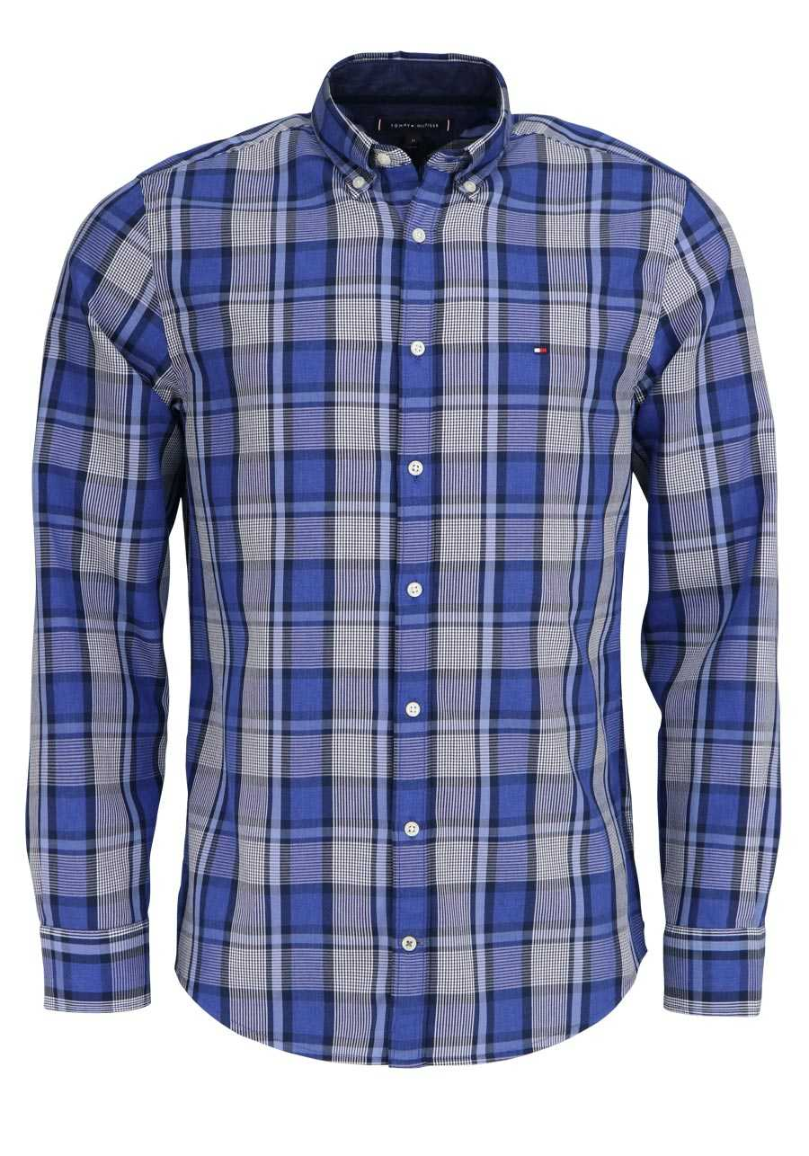 TOMMY HILFIGER Regular Fit Hemd Langarm Button Down Karo dunkelblau e3268cd303