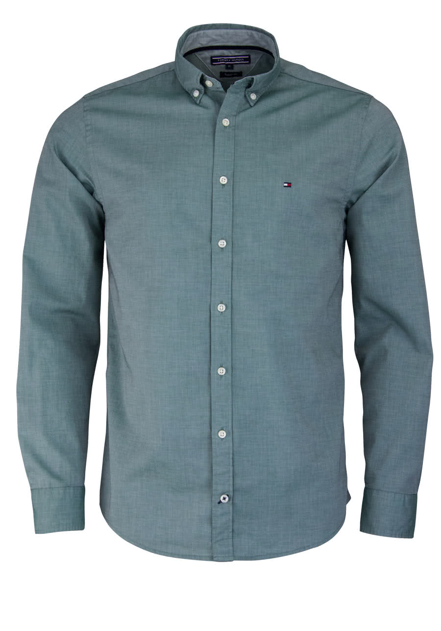 TOMMY HILFIGER Regular Fit Hemd Langarm Button Down Kragen jadegrün