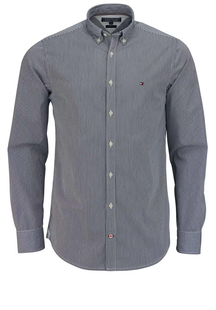 suche nach authentisch verkauft achten Sie auf TOMMY HILFIGER Regular Fit Hemd Langarm Streifen Dunkelblau/weiß