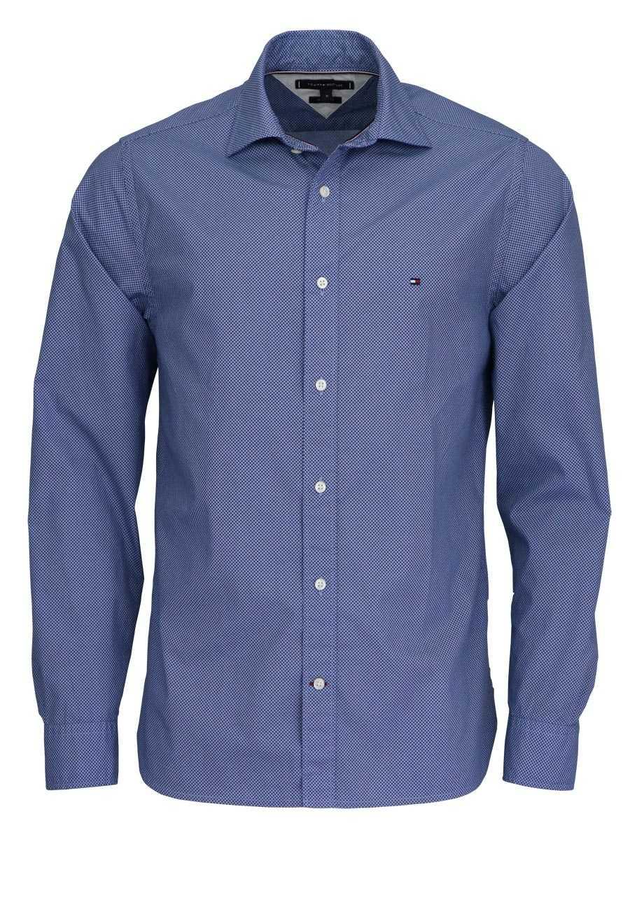 TOMMY HILFIGER Regular Fit Hemd Langarm geknöpft Muster dunkelblau