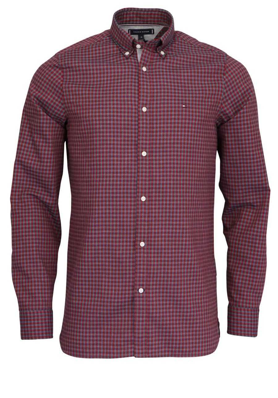 neue auswahl beste Auswahl von 2019 erstaunliche Qualität TOMMY HILFIGER Slim Fit Hemd Langarm Button-Down-Kragen Karo rot