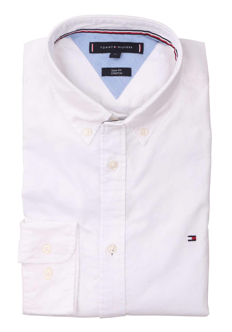 TOMMY HILFIGER Slim Fit Hemd Langarm Logo Stick weiß