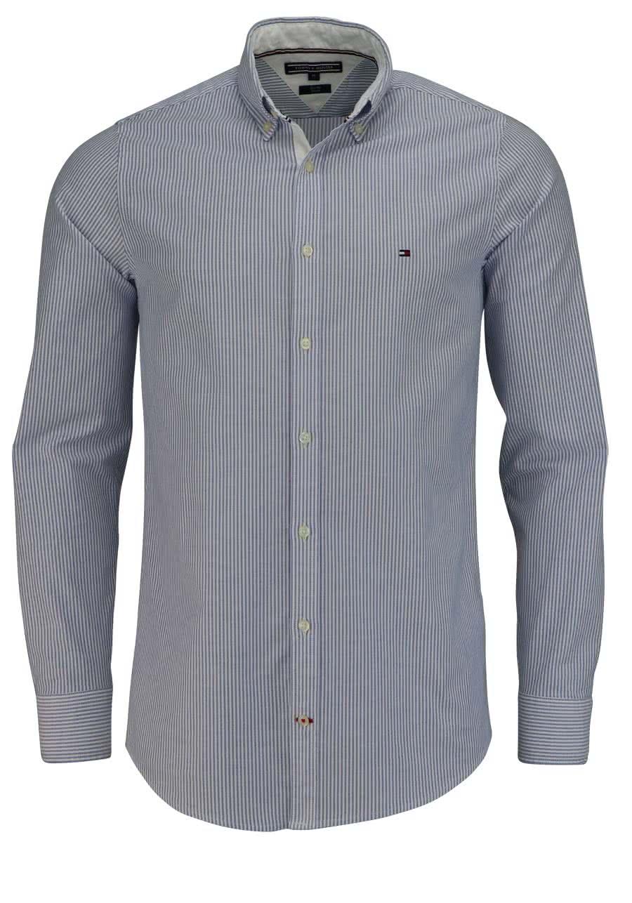 finest selection 3132d b6cc6 TOMMY HILFIGER Slim Fit Hemd Langarm Streifen mittelblau/weiß