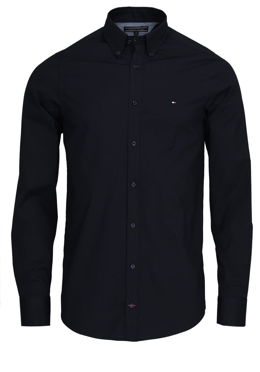 tommy hilfiger slim fit hemd langarm stretch popeline schwarz. Black Bedroom Furniture Sets. Home Design Ideas