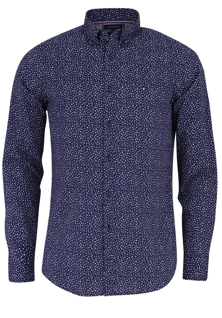 041f41e240584 TOMMY HILFIGER Slim Fit Hemd Langarm geknöpft Muster dunkelblau