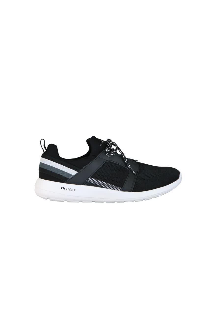tommy hilfiger sneaker materialmix logo detail schwarz. Black Bedroom Furniture Sets. Home Design Ideas