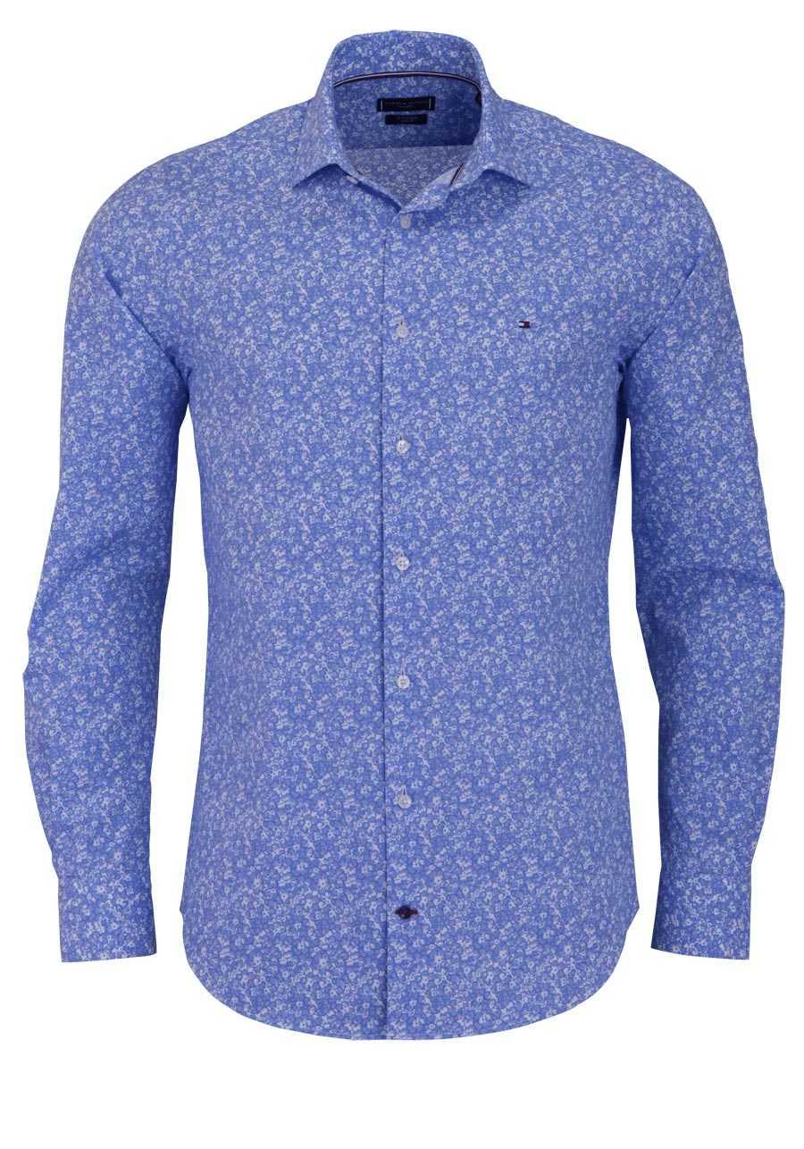 tommy tailored slim fit hemd extra langer arm muster hellblau. Black Bedroom Furniture Sets. Home Design Ideas