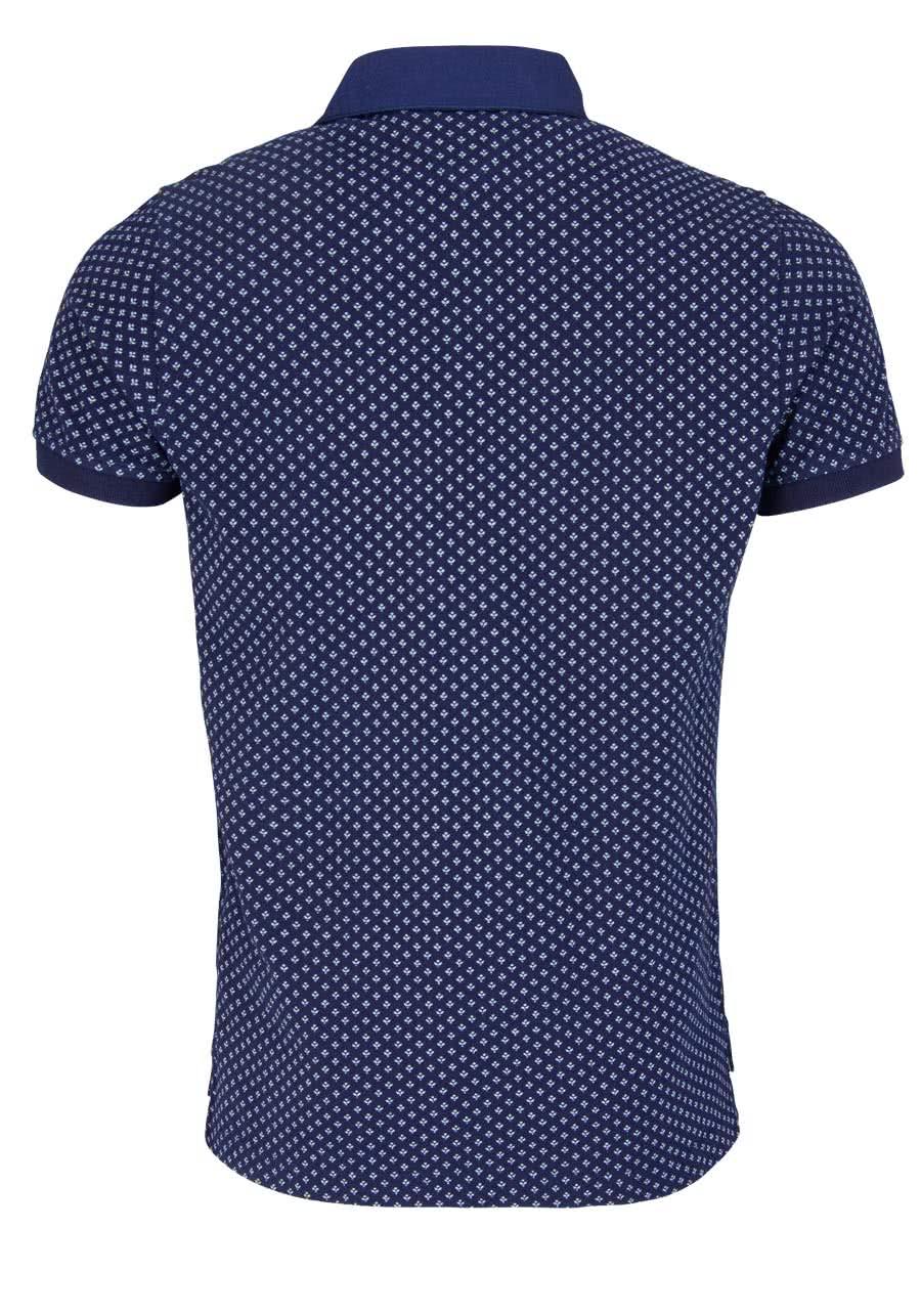 HILFIGER Kurzarm Poloshirt geknöpfter Kragen Allover Druck blau
