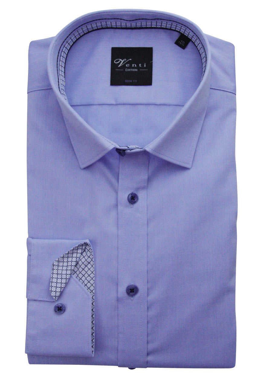 VENTI Body Fit Hemd Langarm New Kent Kragen mit blauem Besatz weiß