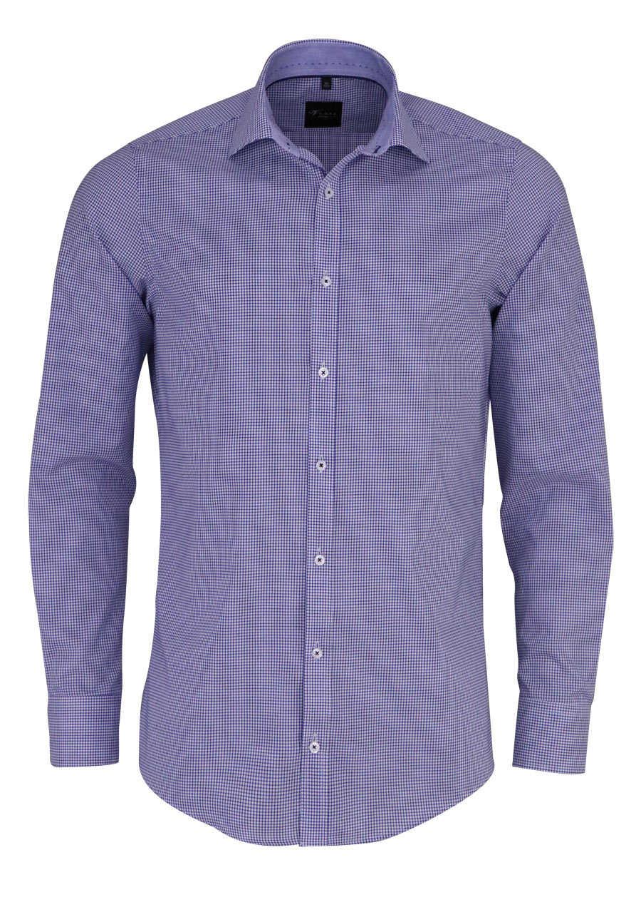 venti slim fit hemd super langer arm haifischkragen karo blau. Black Bedroom Furniture Sets. Home Design Ideas