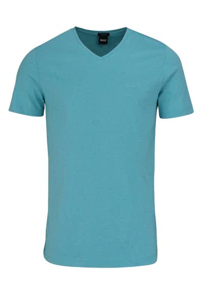 BOSS BUSINESS Regular Fit Kurzarm T-Shirt CANISTRO V-Ausschnitt türkis