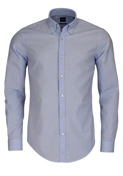 BOSS BUSINESS Slim Hemd ROD Langarm Button Down Kragen hellblau