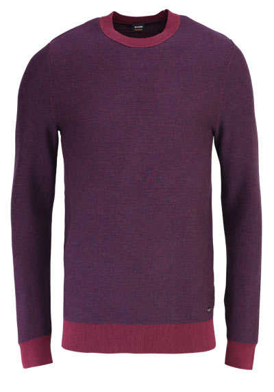 BOSS CASUAL Langarm Pullover AKANICE Rundhals Strick weinrot