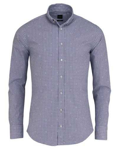 BOSS CASUAL Slim Fit Hemd MABSOOT Langarm Button Down Muster rot
