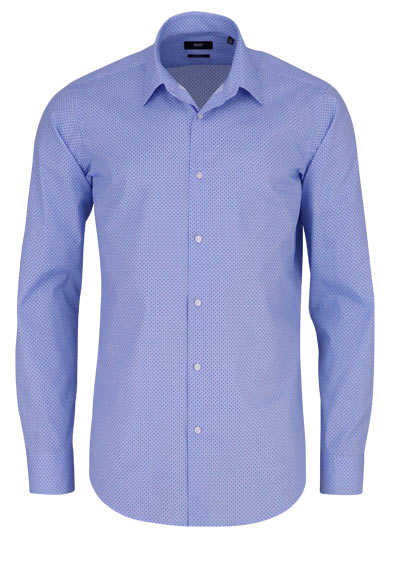 BOSS Regular Fit Hemd ELIOTT extra langer Arm Muster blau