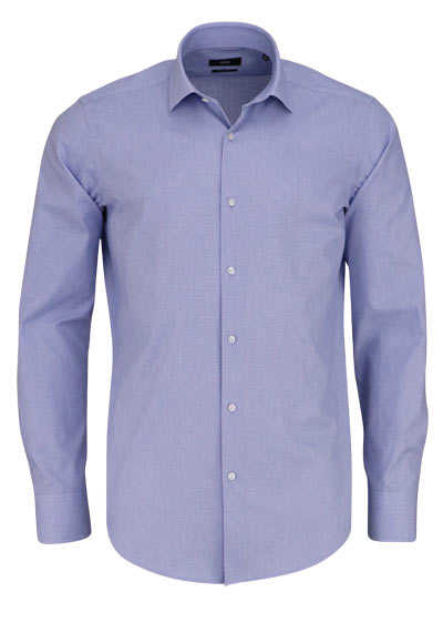BOSS Regular Fit Hemd GORDON Langarm Karo mittelblau