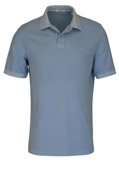 BRAX Halbarm Poloshirt PELE geknöpfter Kragen Logo Stick hellblau - Hemden Meister