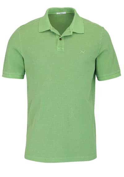 BRAX Halbarm Poloshirt PELE geknöpfter Kragen Logo Stick mittelgrün - Hemden Meister