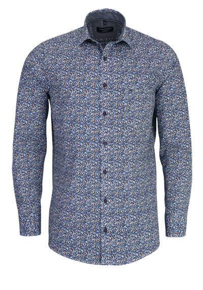 CASAMODA Comfort Fit Hemd Langarm Haifischkragen Muster blau