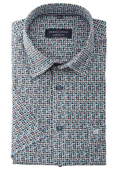 CASAMODA Comfort Fit Hemd Halbarm New Kent Kragen Muster grün