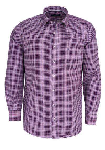 CASAMODA Comfort Fit Hemd Langarm New Kent Kragen Muster dunkelblau - Hemden Meister