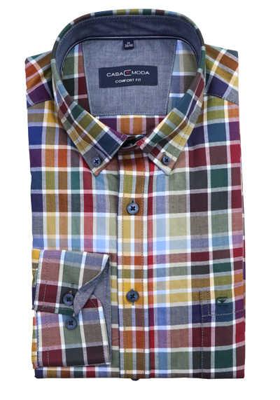 CASAMODA Comfort Fit Langarmhemd Button Down Kragen Karo grün