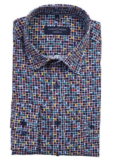 CASAMODA Comfort Fit Langarmhemd New Kent Kragen Muster blau