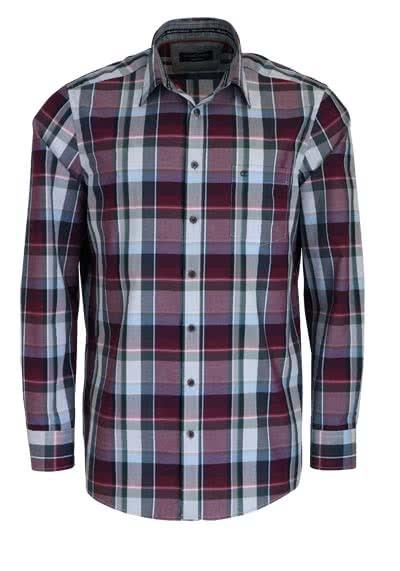 CASAMODA Comfort Fit Hemd extra kurzer Arm New Kent Kragen Karo grau - Hemden Meister