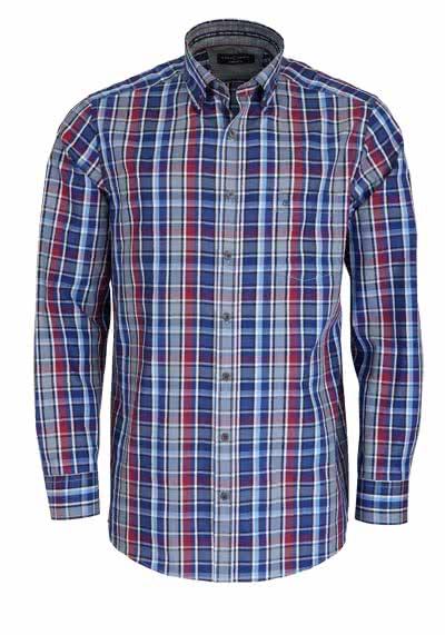 CASAMODA Comfort Fit Hemd extra kurzer Arm Karo blau - Hemden Meister