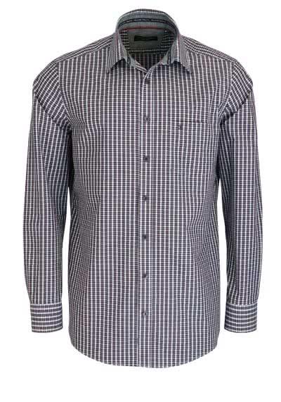 CASAMODA Comfort Fit Hemd extra kurzer Arm Karo weinrot - Hemden Meister