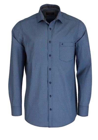 CASAMODA Comfort Fit Hemd super langer Arm Muster blau - Hemden Meister