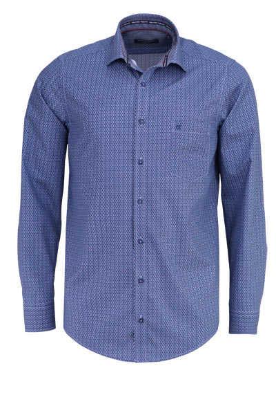 CASAMODA Casual Fit Hemd Langarm Haifischkragen Muster dunkelblau - Hemden Meister