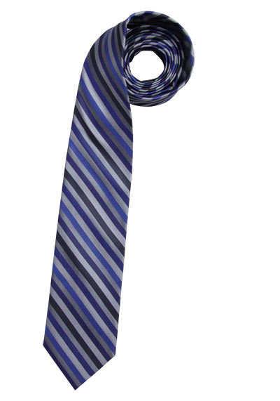 CASAMODA Krawatte extra lang reiner Seide 8 cm breit Streifen blau - Hemden Meister