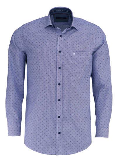 CASAMODA Comfort Fit Hemd Langarm New Kent Kragen Streifen dunkelbau - Hemden Meister