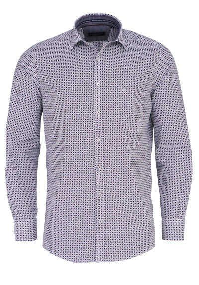 CASAMODA Comfort Fit Hemd Langarm New Kent Kragen Muster weinrot - Hemden Meister