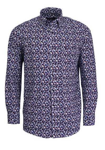 CASAMODA Comfort Fit Hemd Langarm Under Button Down Kragen Muster blau - Hemden Meister