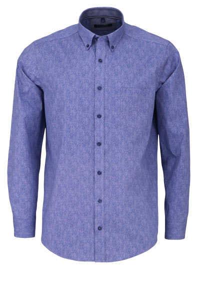 CASAMODA Casual Fit Hemd Langarm Button Down Kragen Struktur blau - Hemden Meister