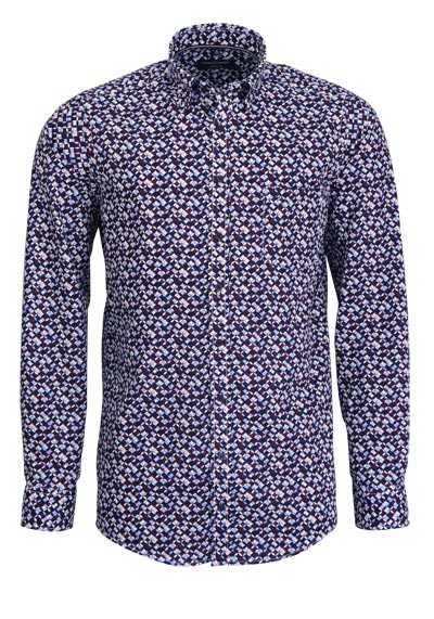 CASAMODA Casual Fit Hemd Langarm Under Button Down Kragen Muster blau - Hemden Meister